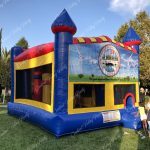 Bounce Area, Tunnel, Basketball Hoop, Pop-Ups, Climb to Slide and Slide. 26' L x 21' W x 15' H